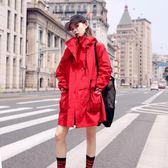 風衣女中長款韓版秋季2019新款小個子休閒港風chic春秋裝紅色外套