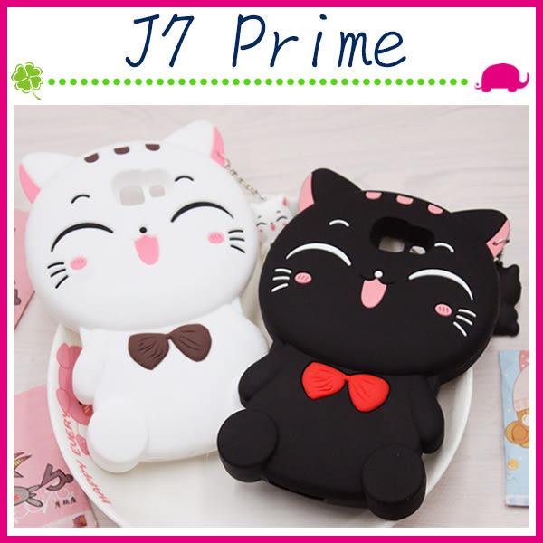 三星 Galaxy J7 Prime G610 立體蝴蝶結貓咪手機套 TPU保護套 全包邊手機殼 可愛小貓保護殼 招財貓
