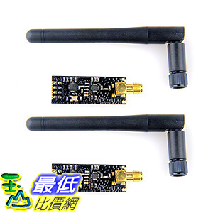 [106美國直購] Makerfocus 2pcs Wireless Module NRF24L01+PA+LNA in Antistatic Foam Arduino Compatible with Antenna