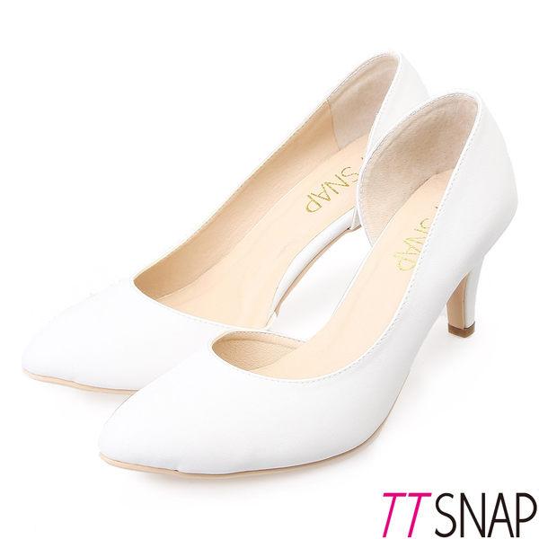 TTSNAP 高跟鞋-MIT側鏤空小尖頭真皮跟鞋 白