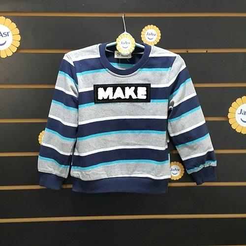 ☆棒棒糖童裝☆(A7880107)秋冬男童藍灰色條紋氣質長袖上衣5-15