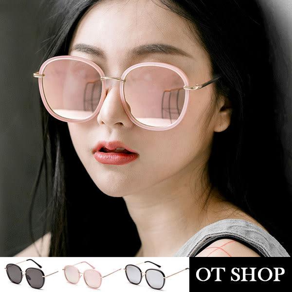 OT SHOP太陽眼鏡‧韓國中性顯小臉復古UV400太陽眼鏡金屬細框鏡膠框亮黑全黑黑反光粉反光Q15