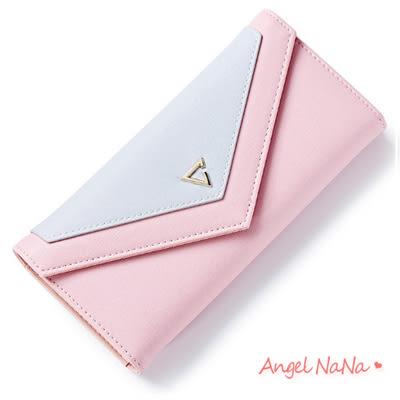 皮夾 韓簡約撞色 信封式 女長夾 零錢包(現貨)AngelNaNa (SMA0182)