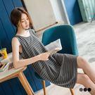 OB嚴選《DA4617-》橫條紋雙口袋設計無袖洋裝.3色--適 M~XL