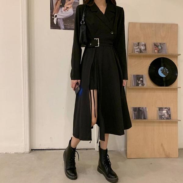 長袖洋裝春秋季西裝連身裙2021新款性感氣質長裙長袖小黑裙收腰顯瘦裙子女  伊蘿