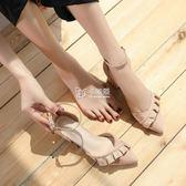高跟鞋 包頭涼鞋女粗跟新款學生百搭尖頭仙女一字扣中跟高跟鞋女 卡菲婭