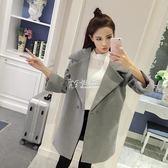 實拍秋冬季新款韓版寬鬆繭型女翻領中長款呢子大衣超低價 卡菲婭
