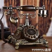老式電話機歐式復古電話機座機家用仿古電話機時尚創意老式轉盤電話無線插卡LX 免運
