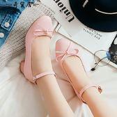 日韓系春秋一字扣低跟甜美蝴蝶結洛麗塔lolita軟妹蘿莉皮鞋單鞋女