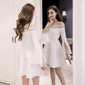 洋裝連身裙小禮服女2018年春夏新款女裝年會名媛蓬蓬裙白色露肩一字肩連衣裙三角衣櫥