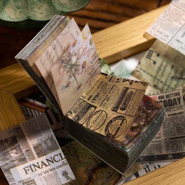 手賬貼紙 365張手帳硫酸紙素材紙本落櫻系列鹽系復古花草手賬貼紙套裝小清新少女心 小衣里