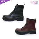中筒靴.MIT個性8孔綁帶厚底中筒馬汀靴...