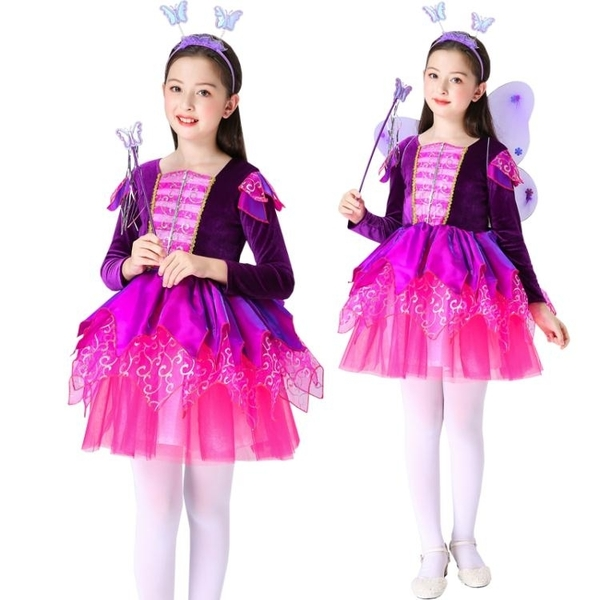兒童聖誕節服裝花仙子演出服女童Cosplay表演衣服公主裙長袖紗裙 亞斯藍