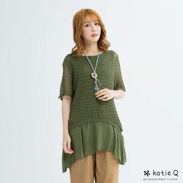 假兩件透袖麻感寬上衣(綠色)-F-KatieQ