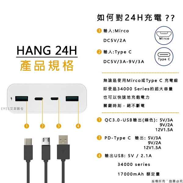 34000 行動電源【HANG 24H】快速充電 雙輸 支援蘋果9V快充 QC3.0 採用進口高密度電芯 隨身 移動電源