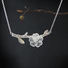 立體透明水晶花朵樹枝 設計感純銀單枝項鏈