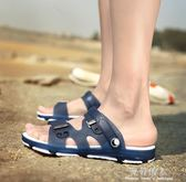夏季男士涼鞋防滑拖鞋室外塑膠耐磨涼拖兩用洞洞沙灘鞋潮 完美情人