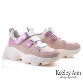 Keeley Ann輕運動潮流 科技視覺感彈性魔鬼氈休閒鞋(粉紅色) -Ann系列