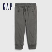 Gap男幼童 工裝風格鬆緊休閒長褲 618467-灰色