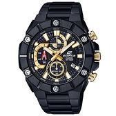 CASIO 卡西歐 EDIFICE 三眼計時手錶-黑金 EFR-569DC-1A