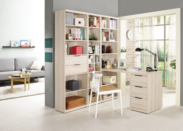 【森可家居】塔利斯4尺L型書桌 (不含椅)  7CM370-1 多功能 含書櫃 木紋質感 北歐無印風