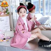 女童毛呢外套2018新款韓版秋冬季洋氣小女孩中長款兒童呢子大衣潮