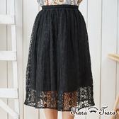 【Tiara Tiara】蕾絲花網微光下擺半身裙(米/黑)