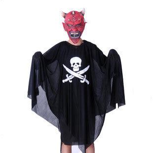 萬聖節服裝 紅臉牛角面具+海盜鬼衣服