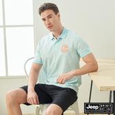 【JEEP】男裝 滿版闊葉印花吸濕排汗短袖POLO衫-湖水藍