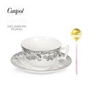 葡萄牙Cutipol-粉金咖啡匙+英國Spode-200ml杯盤組-黑禮盒裝