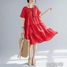 棉麻裙夏裝文藝復古寬鬆中長款印花遮肚子顯瘦棉麻大擺洋裝女 快速出後