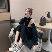中長款過膝復古毛衣連身裙女小香風針織裙子~聚可愛~