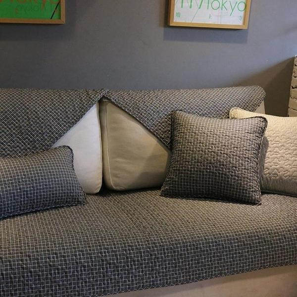 經典北歐時尚全棉沙發墊深色格子耐臟沙發巾防滑布藝沙發套罩定做 亞斯藍