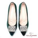 【CUMAR】璀璨閃耀-奢華巴洛克風情方形鏤空鑽飾釦天鵝絨高跟鞋(綠色)