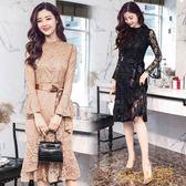 長袖蕾絲連身裙女2018春新款韓版鏤空裙
