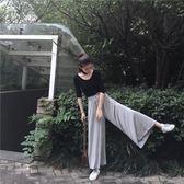 韓風經典百搭舒適莫代爾寬鬆休閒九分闊腿褲褲子舞蹈甩褲女 大碼