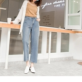 高含棉牛仔自然刷色九分小喇叭褲--適 2L~6L OrangeBear《BA4801》