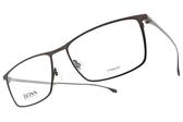 HUGO BOSS 光學眼鏡 HB0976 4IN (霧棕-霧槍) 純鈦休閒方框 # 金橘眼鏡
