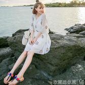 大碼洋裝沙灘裙女大碼巴厘島三亞泰國海邊度假顯瘦白色超仙洋装子 衣間迷你屋