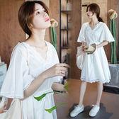 【愛天使孕婦裝】韓版(93538)紗質 V領蕾絲 公主風韓版洋裝 孕婦裝