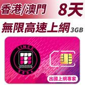 【TPHONE上網專家】香港/澳門 無限上網卡 8天 前面3GB支援高速