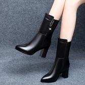 馬丁靴女中筒水鉆皮靴2021秋冬新款時尚百搭高跟短靴粗跟顯瘦裸靴 8號店