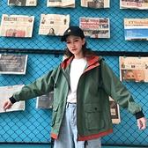 工裝外套女春秋韓版學生bf潮原宿寬鬆拼色連帽短款百搭棒球服風衣