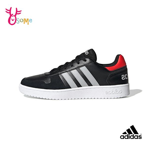 adidas板鞋 HOOPS 2.0男版鞋 皮革 休閒運動鞋 記憶鞋墊 R9379#黑紅◆OSOME奧森鞋業