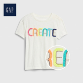 Gap 女童 棉質舒適圓領短袖T恤 546041-光感亮白