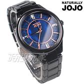 NATURALLY JOJO 優雅魅力綻放 自信風格 珍珠螺貝面盤 陶瓷腕錶 黑x藍色 女錶 JO96970-55F