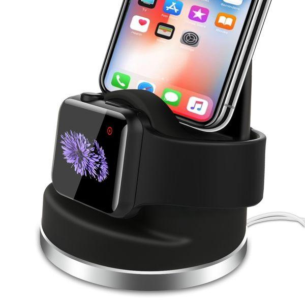 Apple Watch 1/2/3 LTE iPhone 2合1 充電座 表面矽膠漆塗層 現貨供應中
