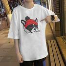 港風短袖T恤男學生寬松男士原宿風袖五分袖上衣