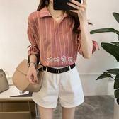 女性短袖襯衫 女裝新款韓版短袖條紋襯衫女寬鬆顯瘦休閒 珍妮寶貝