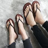 2018人字拖女夏防滑平跟時尚外穿涼拖鞋黑色簡約沙灘鞋潮   mandyc衣間